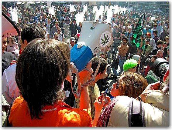 bullhorn, organizer, 420, rally, demonstration, protest, pot, weed, cannabis, marijuana, yonge-dundas square, yds, toronto, city, life