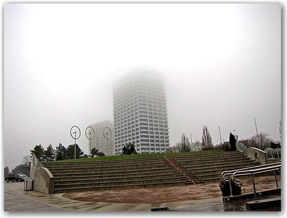 ontario science centre, statues, outdoor exhibitions, fog, toronto, city, life