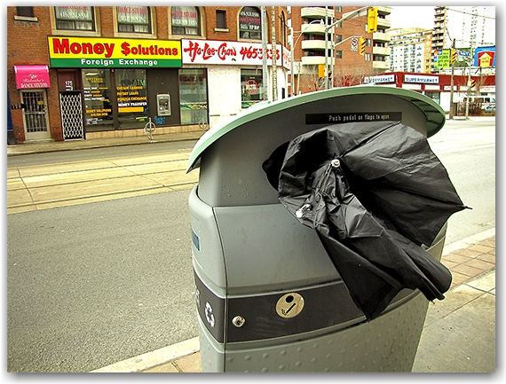street corner, garbage can, ho lee chow, chinese restaurant, money transfer mart, destroyed umbrella, toronto, city, life