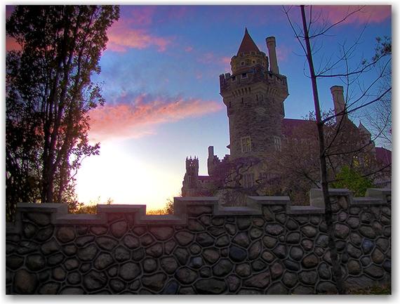 casa loma, dusk, sunset, castle, toronto, city, life
