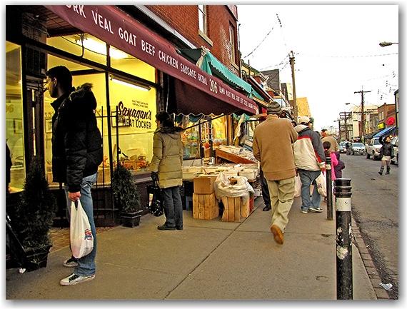 meat, butcher shop, kensington market, shoppers, pedestrians, toronto, city, life