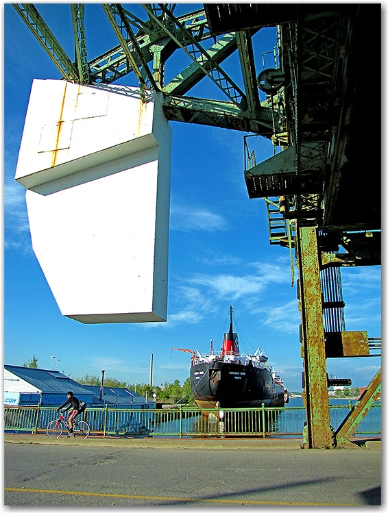 drawbridge, raising bridge, canal, waterway, cargo ship, container vessel, lake ontario, cherry street, toronto, city, life
