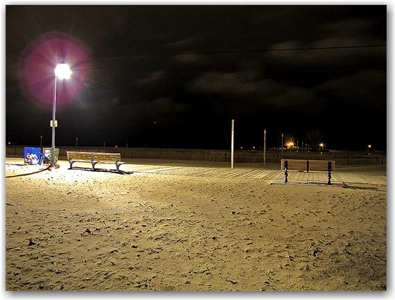 woodbine beach, park benches, boardwalk, tethers, lake ontario, light pole, night, toronto, city, life