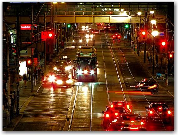 queen street, streetcar, eaton centre, toronto, city, life