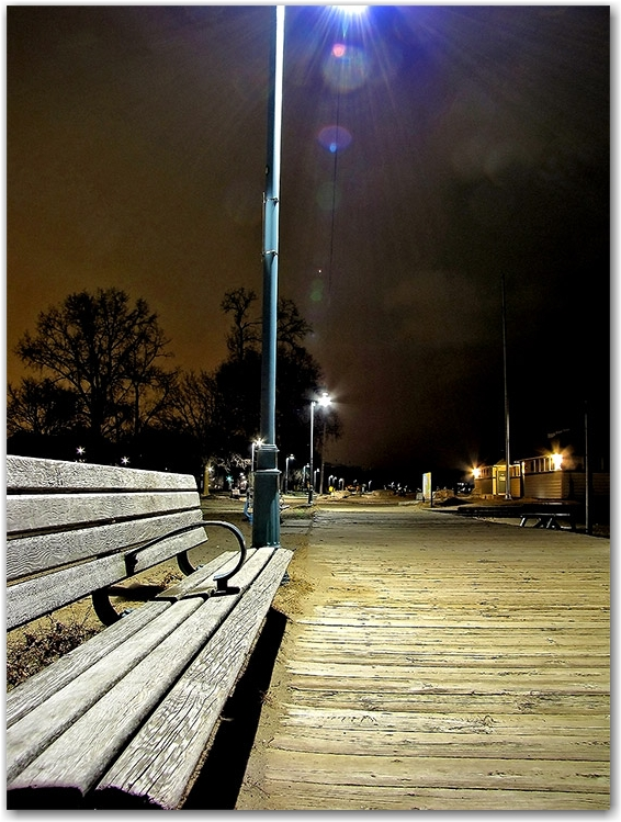 boardwalk, light pole, park bench, woodbine beach, toronto, city, life