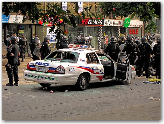 g20, riots, protests, police, car, cruiser, vandalism, queen street west, toronto, city, life
