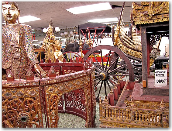 19th century shrine, thai thailand, statues, carvings, honest ed's store, basement, toronto, city, life