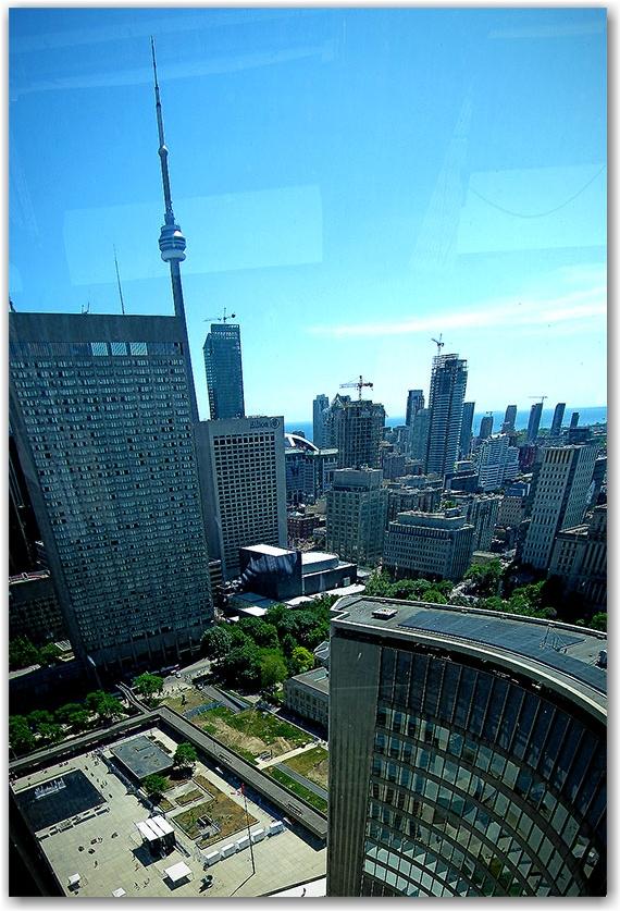 east tower, city hall, panorama, skyline, toronto, city, life