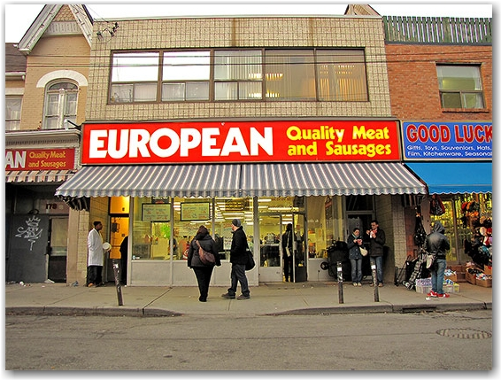 european quality meats and sausages, butchers, kensington market, shoppers, pedestriands, toronto, city, life