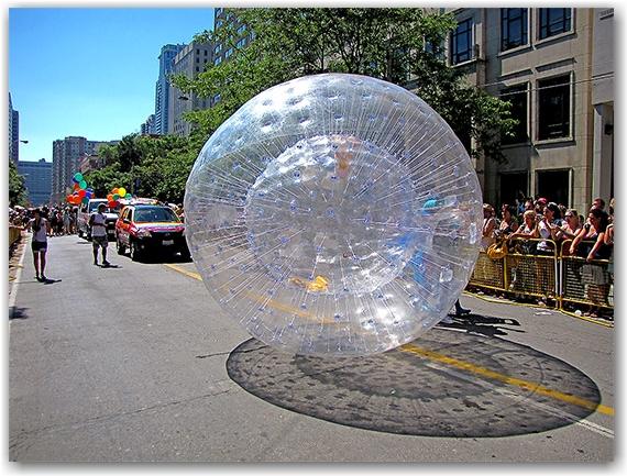 giant ball, pride parade 2010, gerrard street east, toronto, city, life