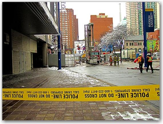 blaze, six, 6, alarm, fire, wall collapse, salad king, gould street, yonge street, ryerson university, toronto, city, life