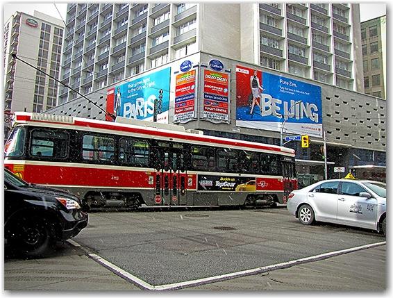 snow, winter, intersection, streetcar, toronto, city, life, blog
