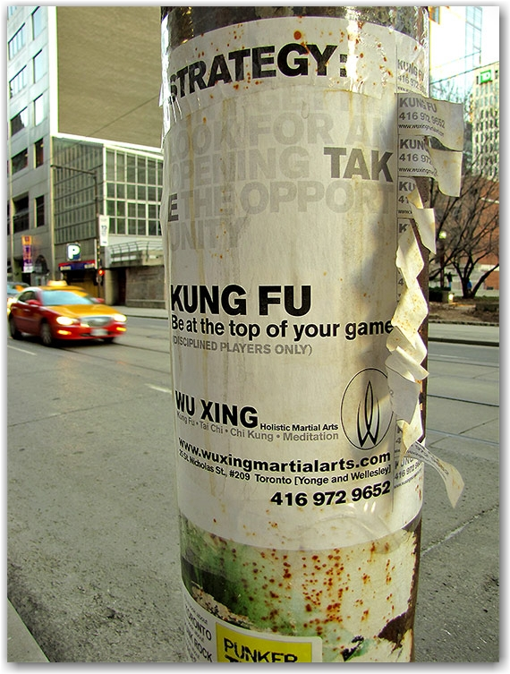 king street east, poster, kung fu classes, toronto, city, life