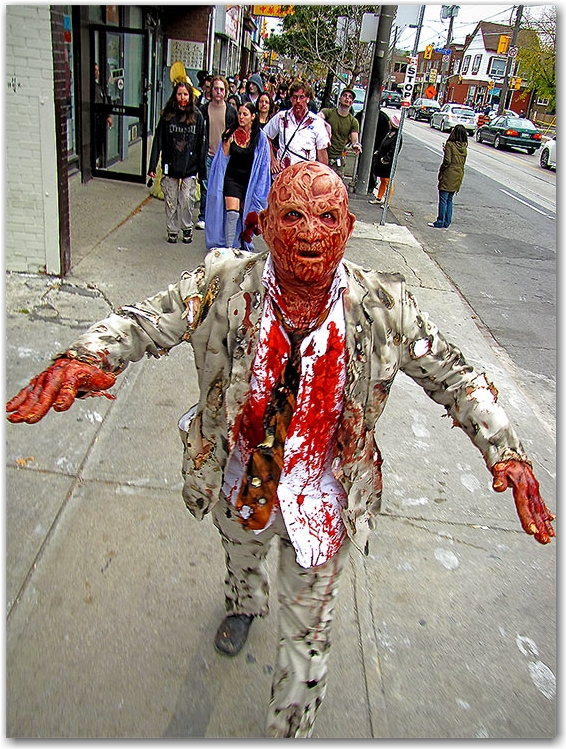 zombie walk 2010, autumn, halloween, toronto, city, life