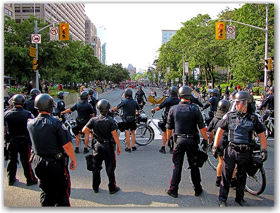 police, g20, protests, protesters, college street, toronto, city, life