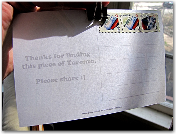postcard, photo, postage, message, paper clip, toronto, city, life