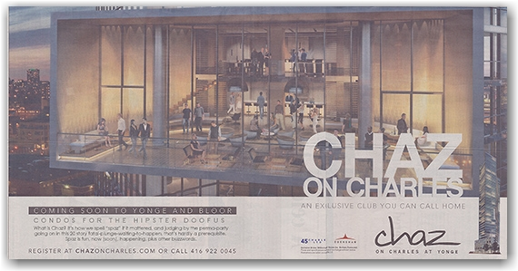 chaz condominiums, charles street, newspaper advertisement, the star, toronto, city, life