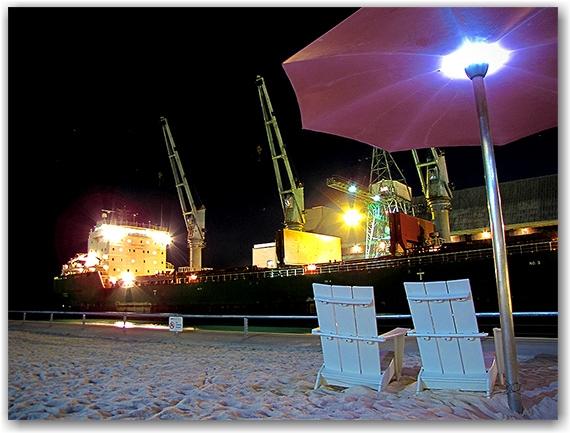 sugar, ship, sugar beach, corus quay, redpath, night, toronto, city, life, blog