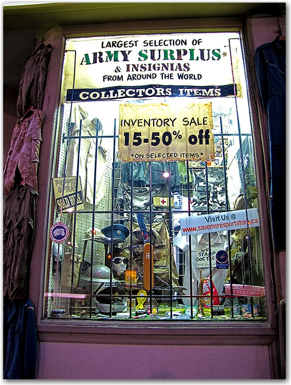 army surplus store, jarvis, queen street, toronto, city, life