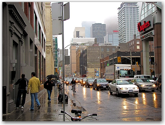 adelaide street, rain, clouds, fog, traffic, commute, toronto, city, life
