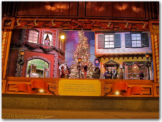 christmas, window, store, decoration, display, seasonal, santa claus, workshop, miniature, hudson's bay company, the bay