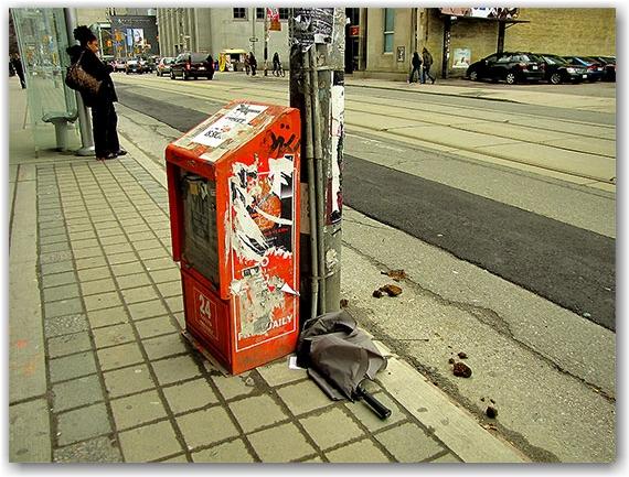 streetcar stop, destroyed umbrella, horse droppings, toronto, city, life