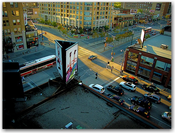 intersection, richmond street, spadina avenue, sunset, toronto, city, life