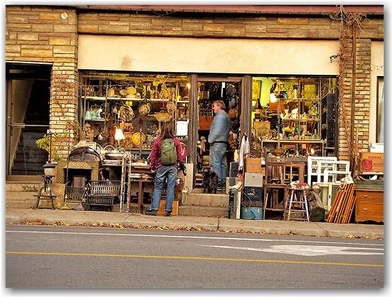 gerrard street, antiques, shop, store, sidewalk, shoppers, toronto, city, life