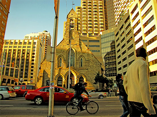 church, anglican diocese of toronto, bloor street west, queen's park, avenue road, cyclist, bicycle, taxi, convertible, intersection, buildings, sunset, pedestrians, toronto, city, life
