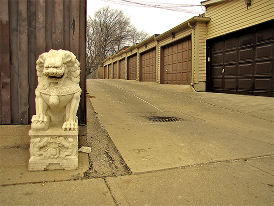 gerrard street east, garages, alley, statue, toronto, city, life