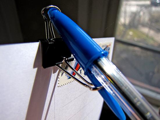 pen, paper clip, postage, postcard, photo, toronto, city, life