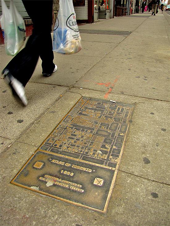 historical map, plaque, pavement, sidewalk, 1858, toronto, city, life