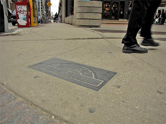 plaque, bay, yorkville, pavement, sidewalk, toronto, city, life
