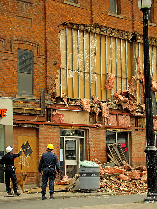 collapsed wall, yonge, gould, street, ryerson university, emergency services, dog team, toronto, city, life