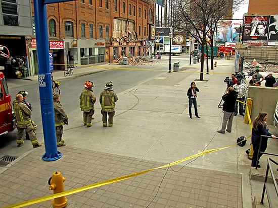 emergency, fire, crews, collapsed wall, yonge, gould, street, ryerson university, media, news, toronto, city, life