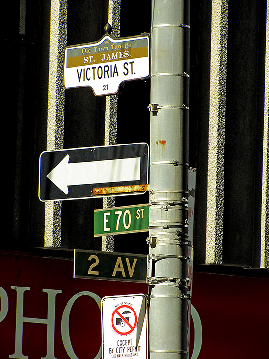 victoria, king, east, streets, 75th, 2nd, avenue, manhattan, new york, the thing, movie, film, production, set, street signs, toronto, city, life