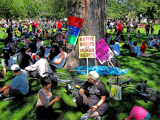 g20, native rights groups, protests, protesters, allan gardens, toronto, city, life