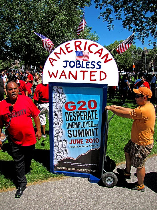g20, protests, protesters, american unemployed, allan gardens, toronto, city, life