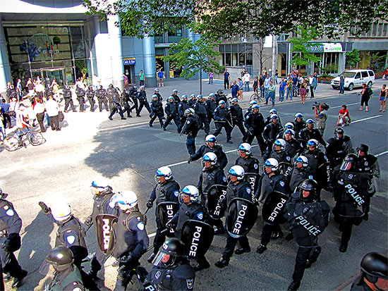 montreal riot police, university avenue, g20, protests, toronto, city, life
