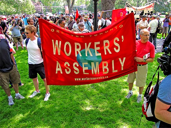 workers' assembly, banner, allan gardens, g20, protests, protesters, toronto, city, life