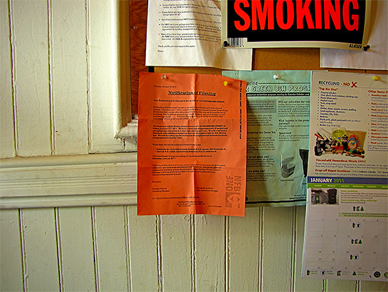 filming notice, apartment building, toronto, city, life