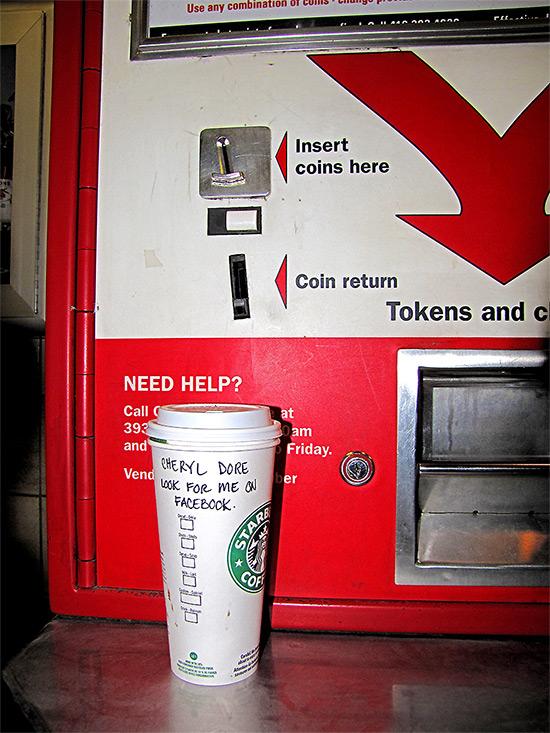 cheryl dore, coffee cup, starbucks, ttc, token dispenser, subway, public transit, toronto, city, life, blog