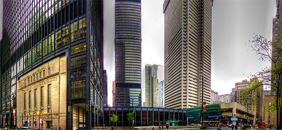 bay street, financial district, toronto stock exchange, panorama, hdr, toronto, city, life, blog